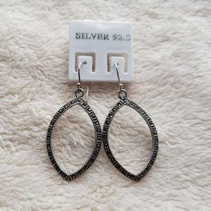 Jewelry - Silver 92.5% Marcasite Hoop Drop Earrings